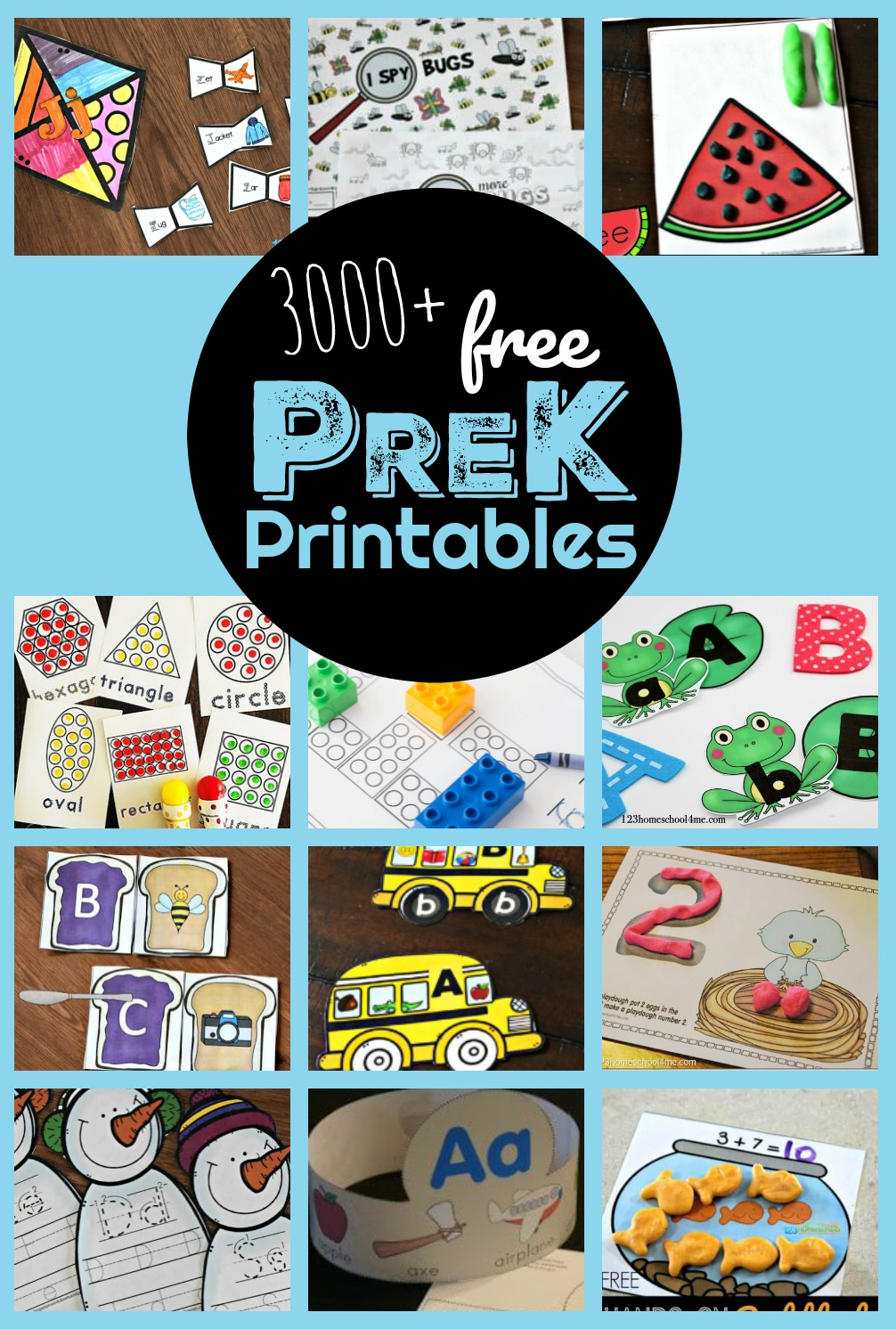 3000+ FREE Preschool and Pre k Worksheets, games, printables, crafts and activities to learn abcs, trace alphabet letters, counting, 1:1 corresondence, addition, pattners, letter recognition, shapes, and more! #preschool #prek #homeschool