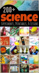 200+ EPIC Science experiments for kids - lots of creative projects free printables, lessons, and more to make learning fun for preschool, pre k, kindergarten, grade 1, grade 2, grade 3, garde 4, grade 5, and grde 6 students #scienceprojects #scienceexperiments #scienceforkids #homeschool