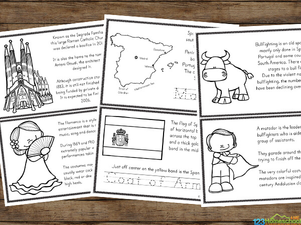 learn about spain for kids with this free printable mini book including map, flag, cathedrals, bull fights, flaminco dancers, and more