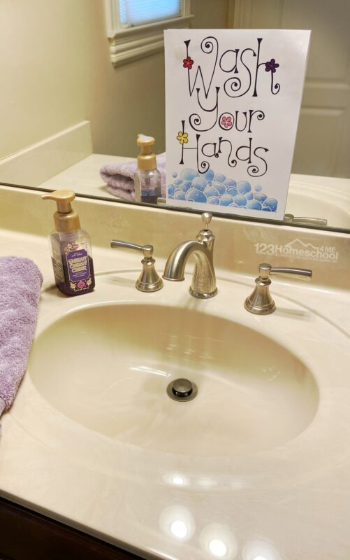 wash your hands bathroom sign printable for home, school, or classrooms
