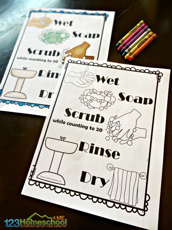 washing hands for kids is easier to remember with these free printable signs with the steps to hand washing - wet, soap for 20 seconds, scrub, rinse, and dry. Print in color or black and white and use crayons or markers to decorate your printable poster