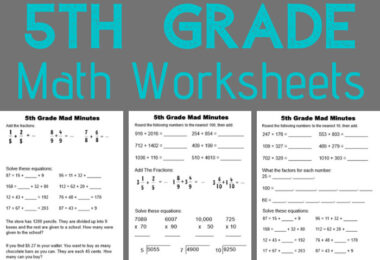 These 5th Grade Math Worksheets are a NO PREP and fun way to help your grade 5 students get extra math practice at school, at home, for summer learning, or extra learning to gain math fluency.