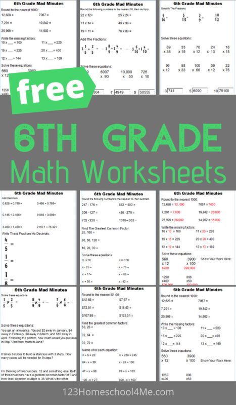 Help your kids get extra math practice with these free printable 6th Grade Math Worksheets, perfect for school at home, summer learning and extra learning to help kids gain math fluency.
