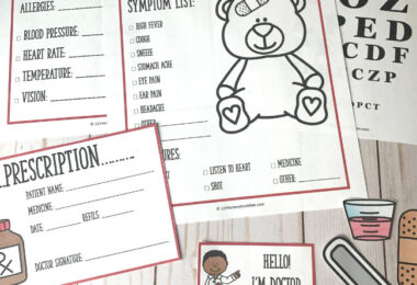 Kids will feel official and play for hours when you add these super CUTE (and free) Doctor Pretend Play Printables to their pretend play! 8-page set to encourage creativity in toddlers, preschoolers, prek, kindergartners, and grade 1.