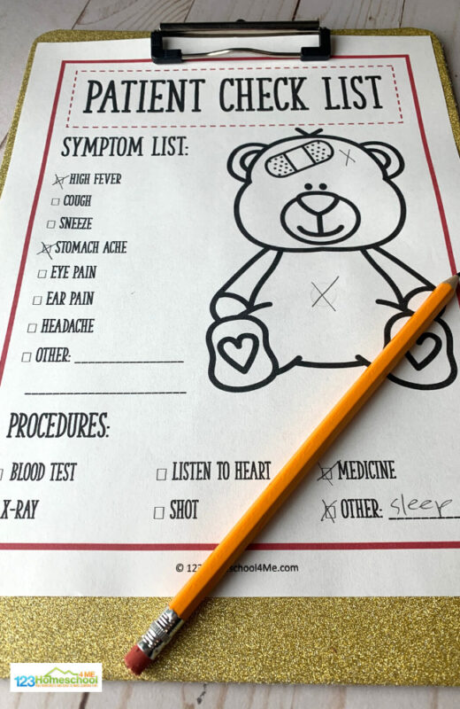 Doctor Printables to print for free including this patient check list for pretend physicians to note what is wrong with patient