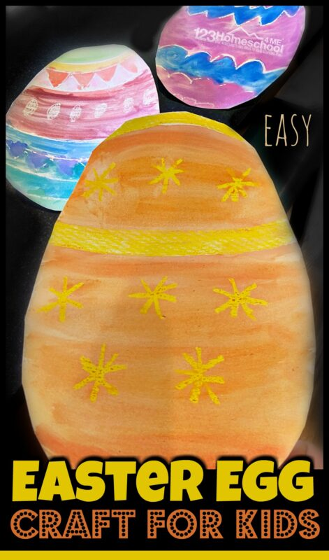 Water Resist Easter Egg Craft - super cute, easy, and fun-to-make Easter craft for kids of all ages from toddlers, preschoolers, pre k, kindergarten, first grade and older using watercolor paints and crayon resist. Such a fun idea for decorating your house in April