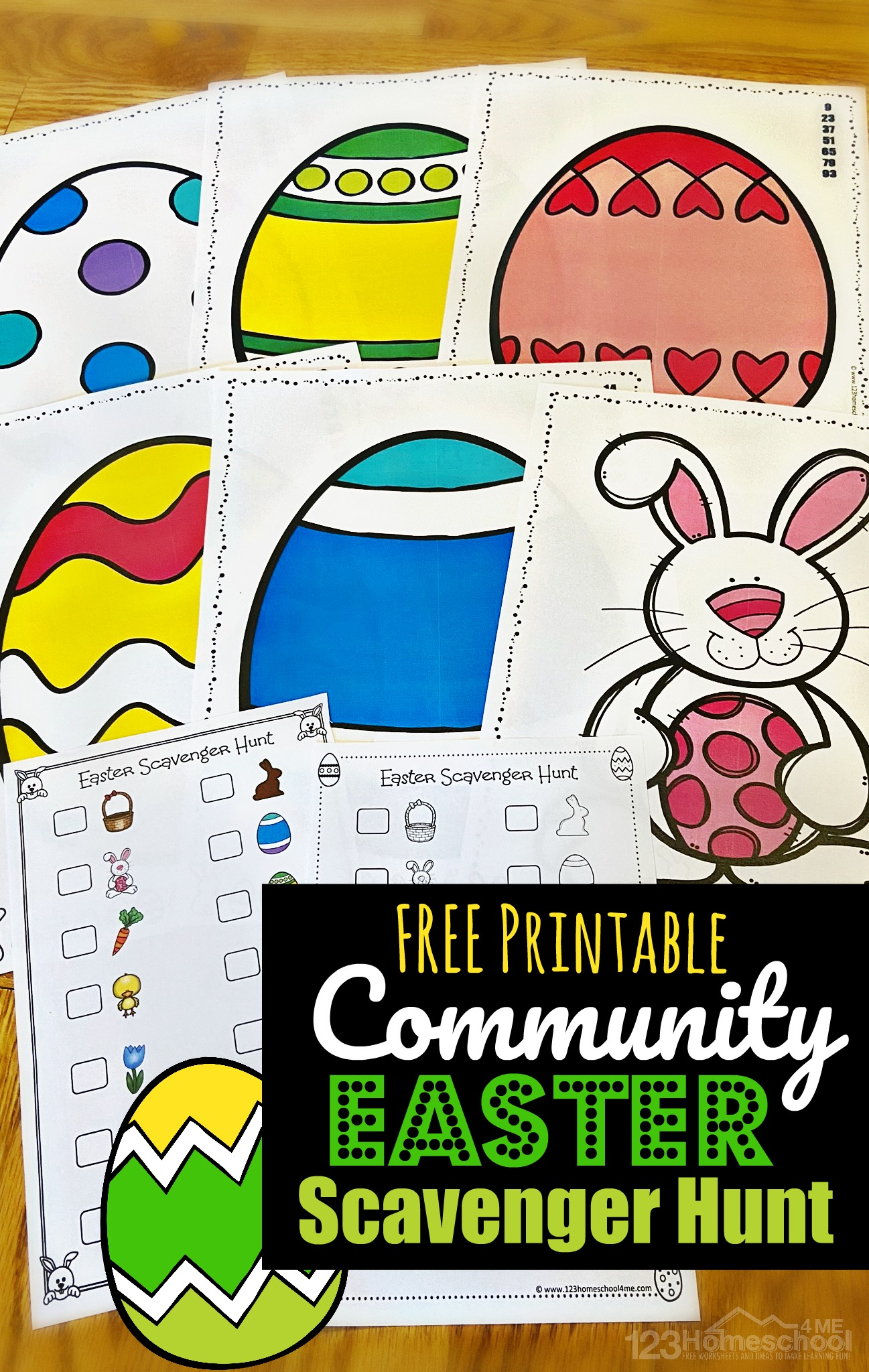 FREE Easter Egg Hunt Printables - free printable clues for neighbors to put in their windows and checklist for families to go around neighborhood looking for decorated easter eggs, easter bunny, baskets, chocolate bunny, and more all while observing social distancing. #easterprintable #eastergame #easteractivities #preschool #toddler #familyfun