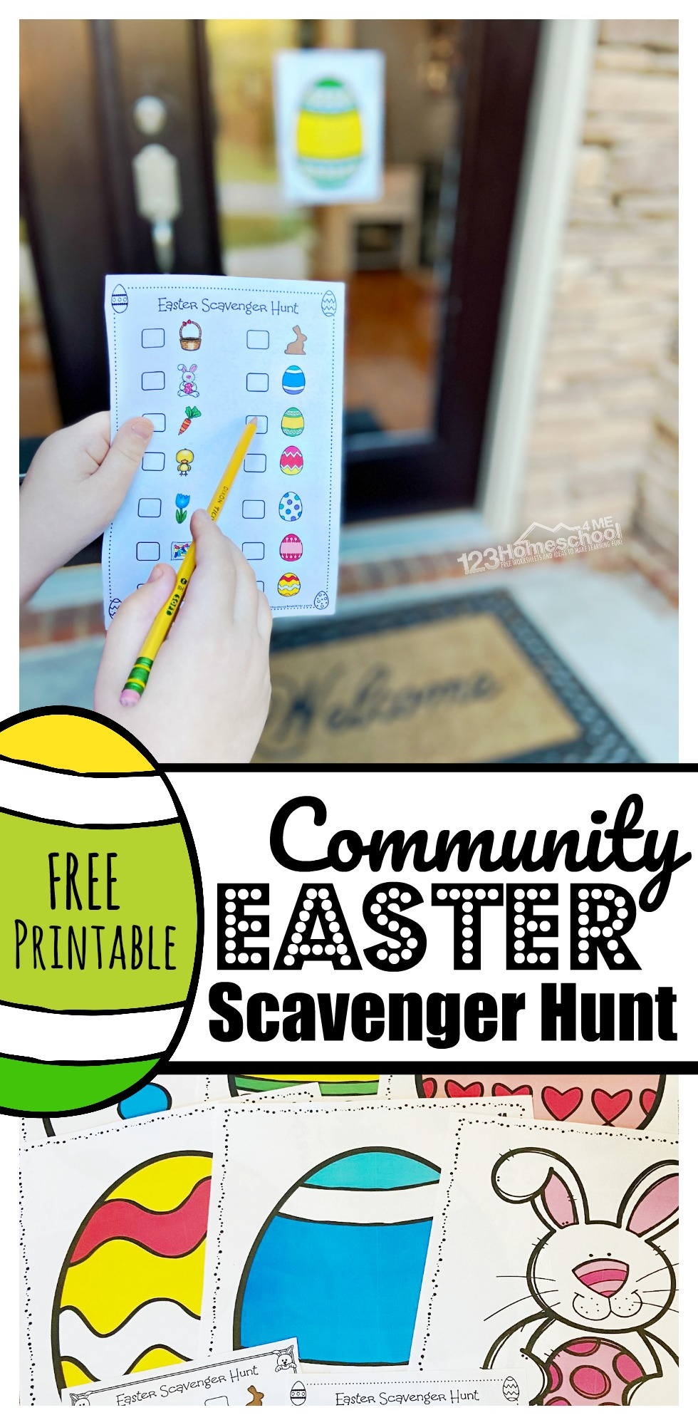 FREE Printable Community Easter Scavenger Hunt - Practice social distancing and still have FUN this April. Neighbors print clues (in color or black & white) and families can enjoy fresh air, exercise, and participate in a fun Easter Activity in their community! Fun easter game for toddler, preschool, pre k, kindegarten, and elementary age kids.