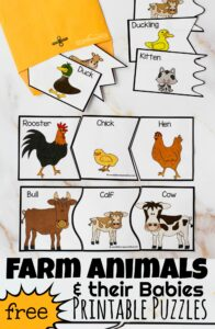Oink, Moo, Baa.....kids have a natural fascination with farm animals. These super cute, free printable farm animal puzzles are such a fun way for kids to learn science vocabulary about animal baby names and work on visual discrimination and reasoning skills. Grab these Farm Animals and their Babies Printables for toddler, preschool, pre k, kindergarten, and first grade students. These are perfect for a farm theme or Are you my Mother book themed activity for children.