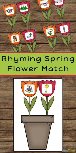 Super cute, spring themed, Flower Rhyming Activity for pre k, kindergarten, and first grade to improve reading readiness! This free printable rhyming game is sure to be a hit with your students!