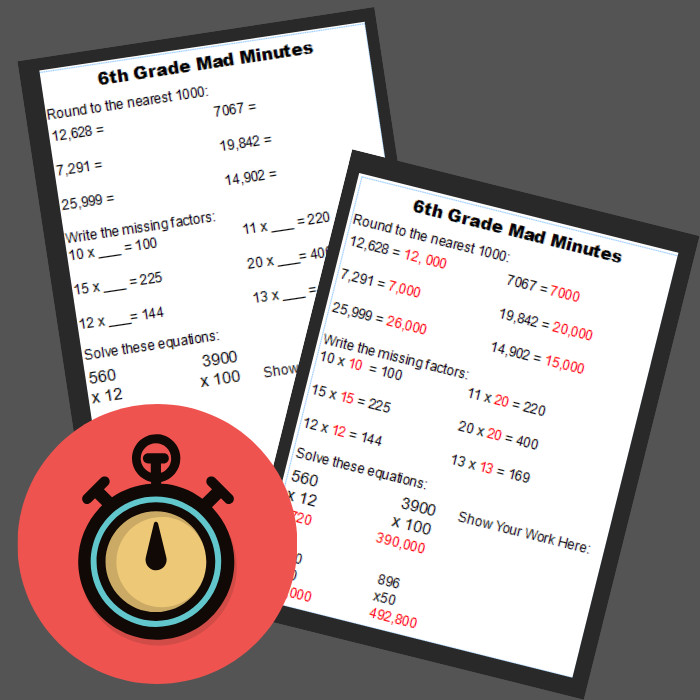 turn Grade 6 Math Worksheets into a math game with this printable