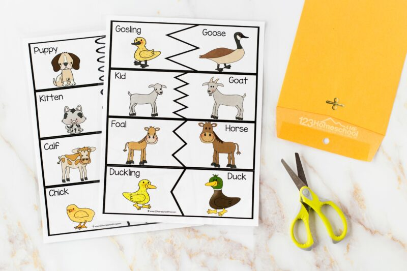 Matching baby animals to their mothers interactive game