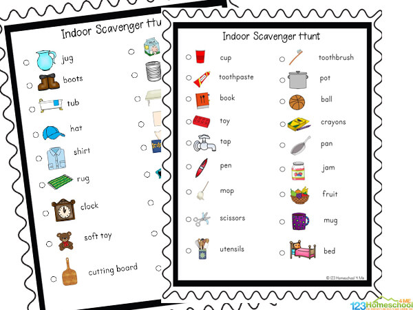 super cute Printable Scavenger Hunt for toddler, preschool, pre k, kindergarten, first grade and 2nd grade kids