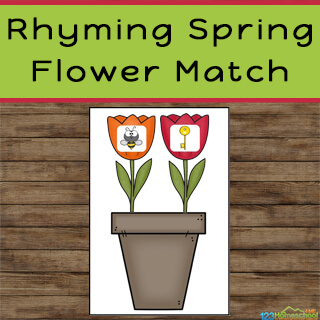 rhyming activity for preschoolers, kindergartners, and grade 1 perfect for spring literacy centers