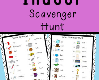 printable indoor Scavenger Hunt for Kids to do inside when they are stuck at home due to weather or social distancing