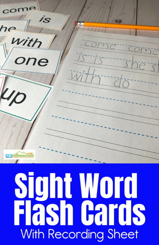 Help kindergartners improve reading skills and fluency with these free printable Sight Words Flash Cardsfor pre k, kindergarten, first grade, 2nd grade, and 3rd grade students. There are 100 words in all.