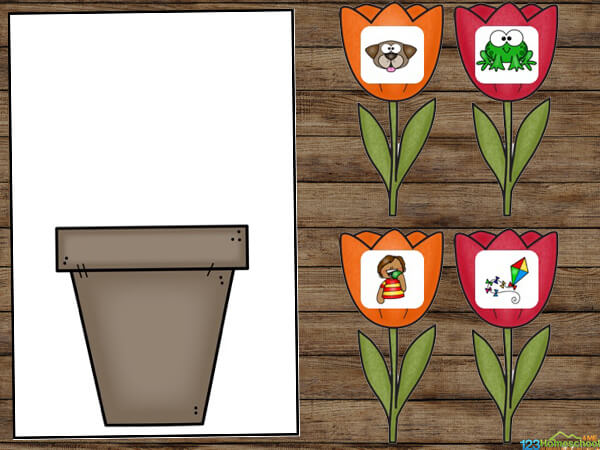 Spring Rhyming printable to help pre k, kindergarten, and first grade improve reading readiness