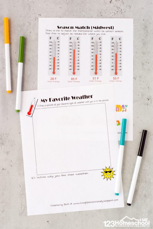 Weather worksheets for kindergarten