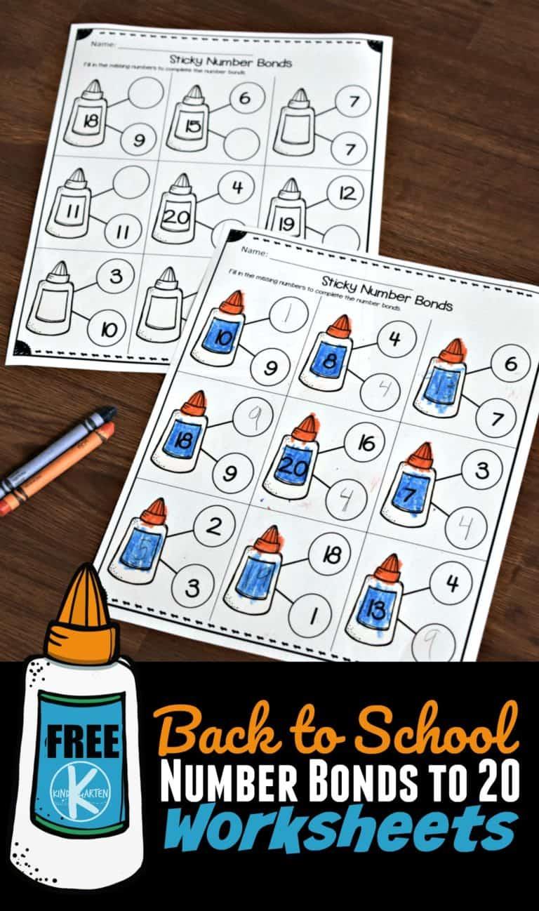 back to school glue number bonds worksheets