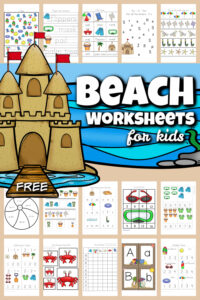 Use these super cute beach worksheets to sneak in some fun summer learning in between all your summer activities to keep up skills and avoid the summer leaning loss. These free beach printables include letter find, beach i spy, beach math, counting, addition, skip counting puzzles, and so much more. This HUGE pack of over 70 pages of beach worksheets for preschool, pre k, kindergarteners, and first graders is so handy! Simply print pdf file with summer worksheets for preschoolersand you are ready to play and learn with abeach activity for kids!