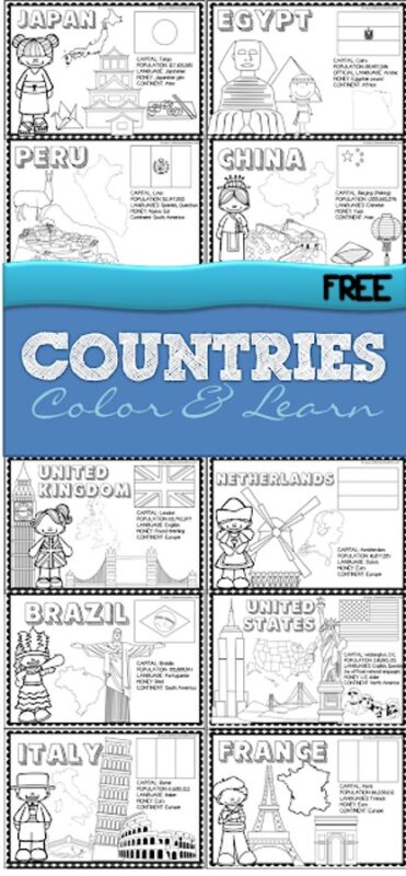 Head on an adventure around the world to learn about countries for kids. These Country Coloring Pages are a quick and easy way for kids to learn about countries and cultures. These countries of the world coloring pages are perfect for preschool, pre-k, kindergarten, first grade, 2nd grade, and 3rd graders to learn about 19 countries of the world. Simply download pdf file withcountries coloring pages and you are ready to color and learn!