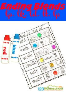 Grab these no prep, FREE printableEnding Blends Worksheets to help your first grader learn phonics skills that will help them become better reading and spelling.