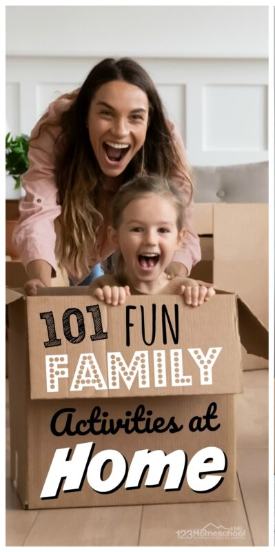 101 FUN Family Activities at Home - so many creative, easy kids activities for kids of all ages when you are stuck at home over the weekend.
