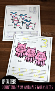 farm counting worksheets