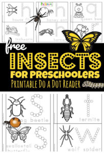free printable insect worksheets for letter A-Z