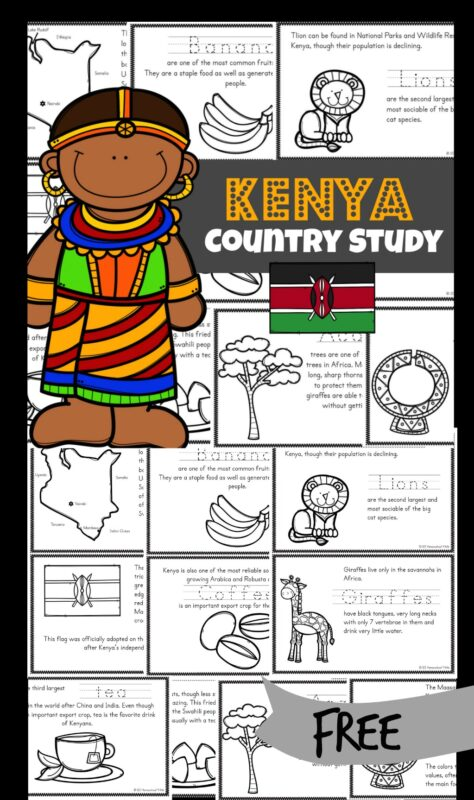 Make learning about Kenya for kids FUN with these Free Printable Books for Kids. These kenya worksheets include Kenya map, Kenya flag, and Kenya information and facts about their way of life. These free country printables help students from kindergarten, first grade, 2nd grade, 3rd grade, 4th grade, 5th grade, and 6th grade students learn about this African country with many exciting landmarks and places to visit. Simply color, read, and learn!