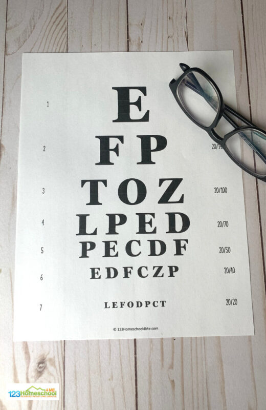 printable doctor eye chart for kids pretend playas doctors or ophthalmologists