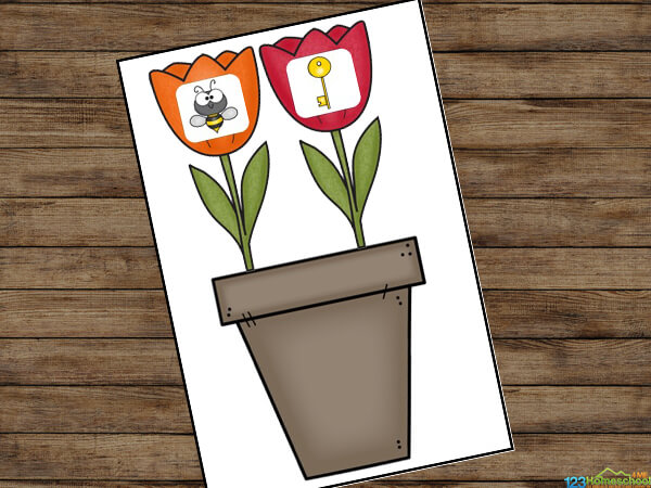 rhyming game with flower pot and spring tulips featuring various rhyming images