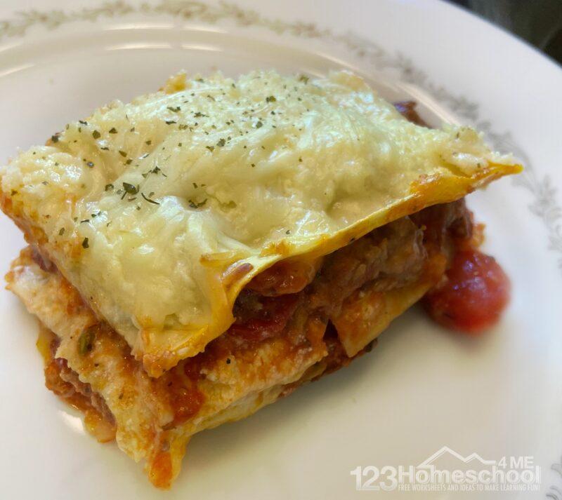 Slice of delicious lasagna