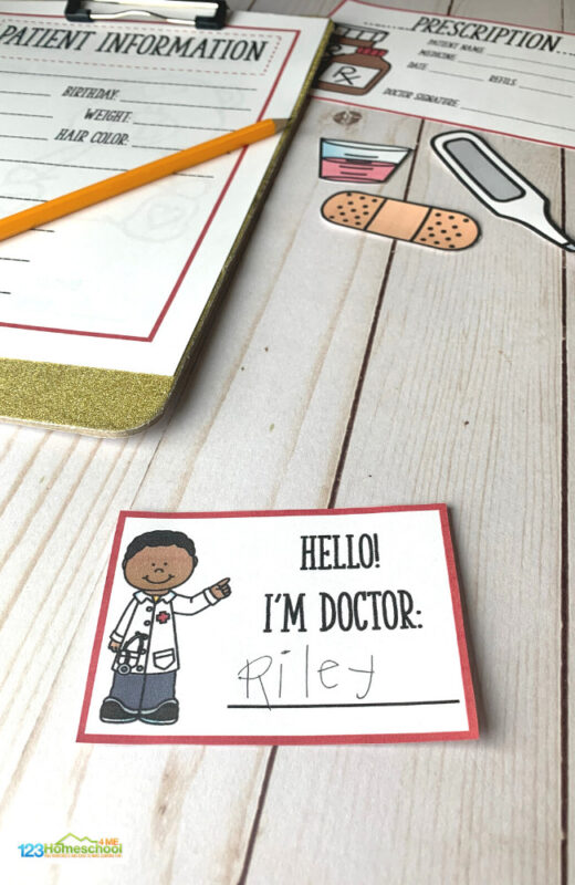 toddler, preschool pretend play printables with 8 pages including doctor name tag, bandaids, patient checklist and more