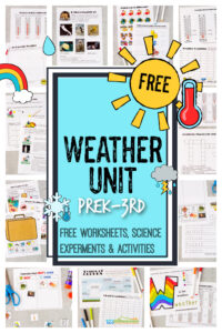 Make teaching kids about weather fun and EASY with this free weather unit. These Weather Worksheets help kids explore a variety of weather topics as well as some weather themed worksheet for early math and literacy too. Use these free weather printables as preschool, 1st grade, 2nd, grade, 3rd grade, 4th grade andkindergarten weather worksheets. Simply print pdf file withweather worksheets for kidsand you are ready to learn!