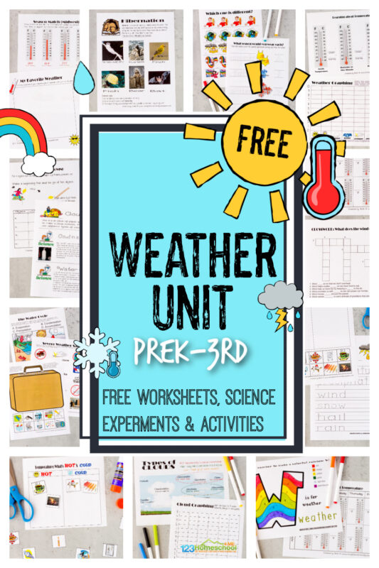 Make teaching kids about weather fun and EASY with this free weather unit. These Weather Worksheets help kids explore a variety of weather topics as well as some weather themed worksheet for early math and literacy too. Use these free weather printables as preschool, 1st grade, 2nd, grade, 3rd grade, 4th grade and kindergarten weather worksheets. Simply download pdf file with weather worksheets for kids and you are ready to learn!