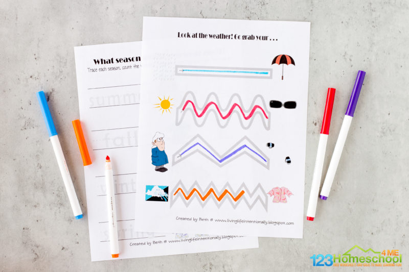 weather worksheets for preschooler