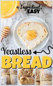 Delicious Yeastless bread recipes that uses just 4 ingredients to make a soft, mouth watering soda bread. This homemade bread recipe is delicious for breakfast, sandwiches, or warm out of the water with butter, honey, and jam.