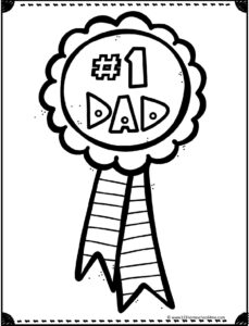 #1 dad on ribbon coloring page