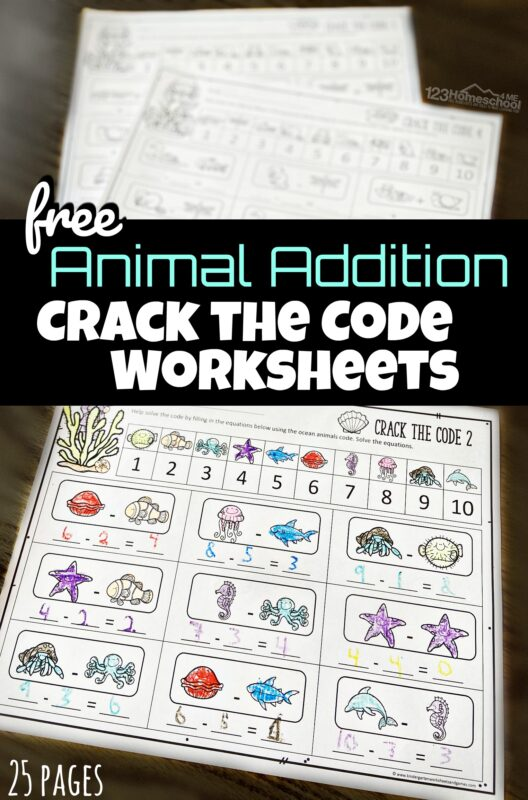 Turn practicing addition into a fun activity as children get to become detectives with these free printableAddition Crack the Code Worksheets. 25+ pages in this pack of animal themed pages for kindergarten and first grade students working on addition within 20.