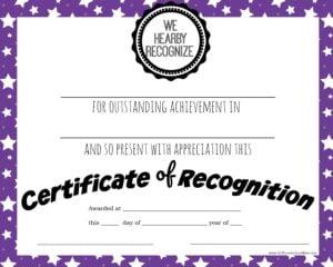 Award Certificate purple