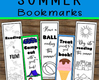 Bookmarks to color for kids of all ages perfect for summer reading.