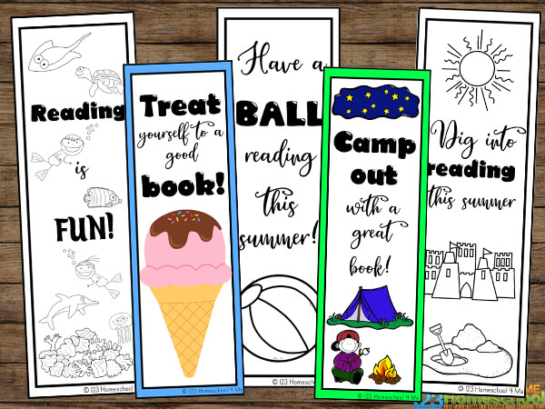 Super cute bookmarks for kids to color including cute clipart of ice cream, beach ball, tent, camping, sun, swimming, and more