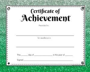 Certificate green glitter