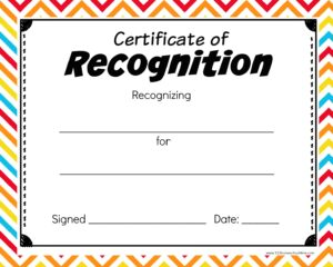 Certificate of Recognition Crazy Lines