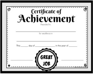 great job certificate of achievement black and white