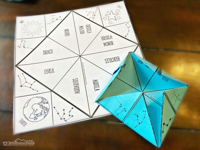 Constellations Printable to learn about over 30 different constellations using a cootie catcher game