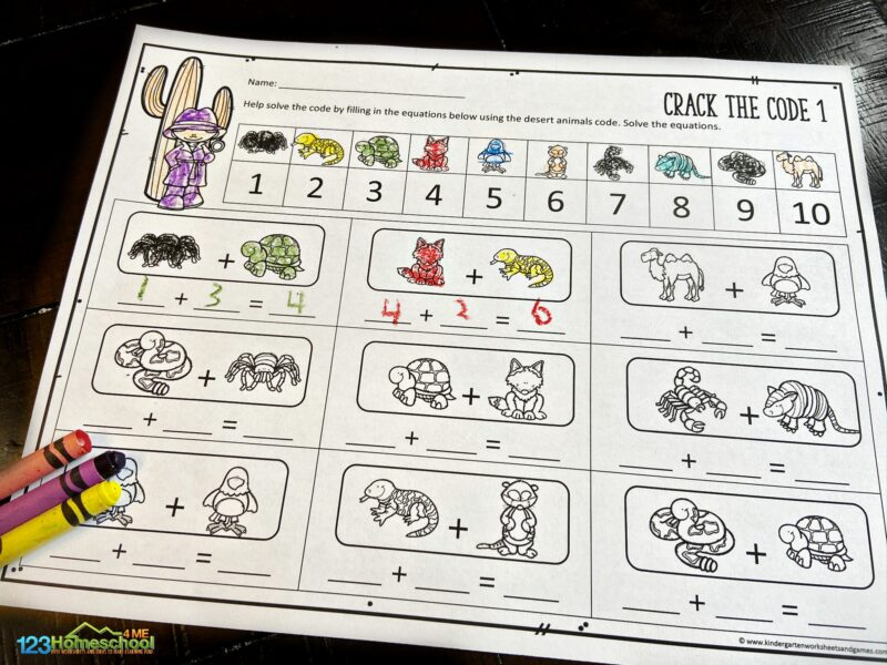 desert themed Crack the Code Math with cactus, rattle snake, scorpion, camel, gila monster, and more animals