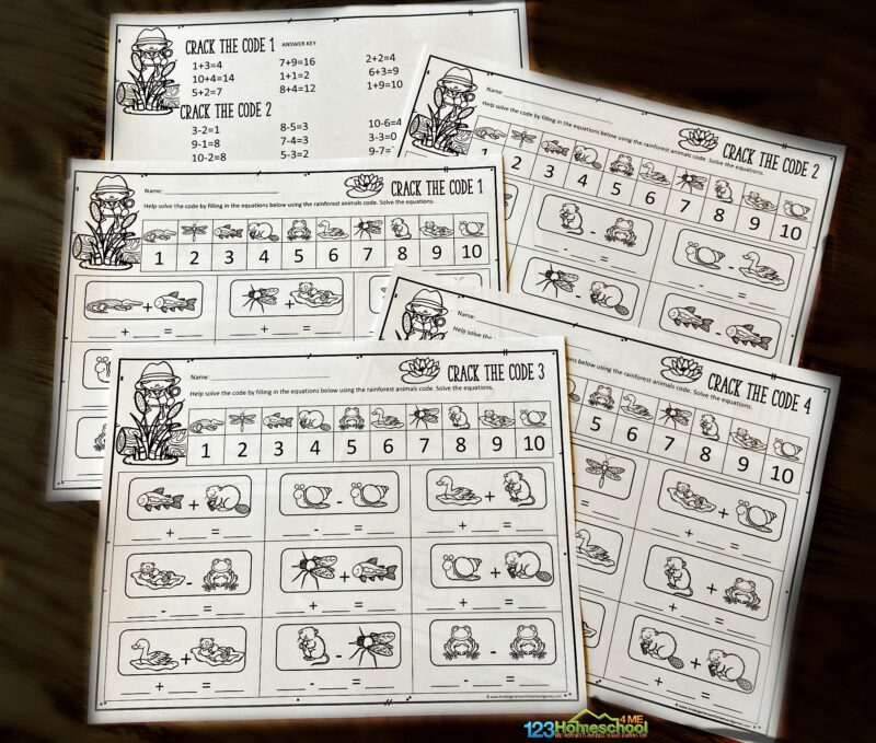 super cute, free printable Crack the Code Worksheets for kindergarten and first grade students to practice math