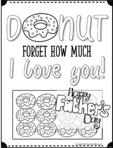 Donut forget how much I love you cute fathers day coloring page